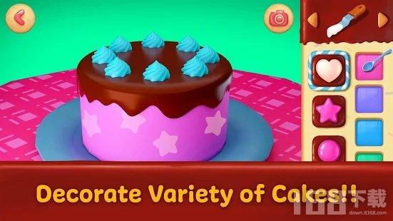 独角兽女孩制作蛋糕