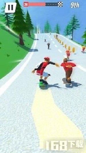 滑板蜿蜒的道路