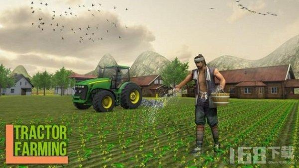 现代拖拉机耕种
